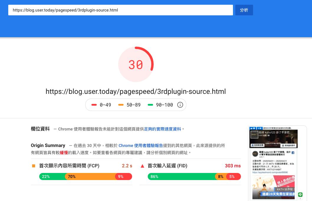 PageSpeed - 嵌入社群分享套件