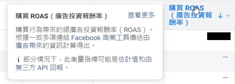 facebook roas 欄位